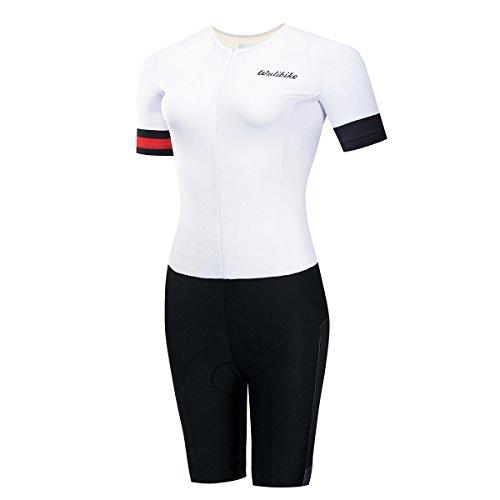 logas Combinaison Trifonction Femme Tenue de Velo Triathlon Manche Courte Blanc Bleu