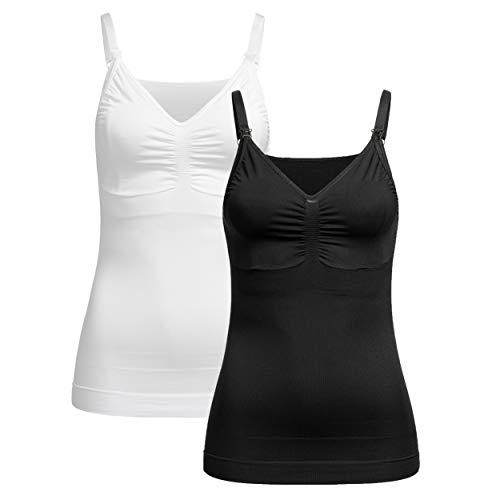 Herzmutter Camisa de Lactancia - Camiseta sin Mangas de Lactancia - Ropa de Lactancia - Sin Costura - Camiseta para Mujer lactante - Bustier Integrado - 5320 (M-L, Negro/Blanco)