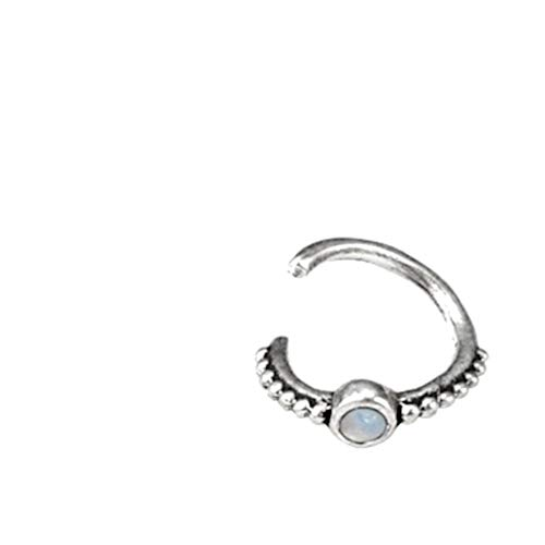 CHICNET Women's and Men's Piercing Ring Lip Labret Ear Lobe Helix Tragus Conch Nostril Septum 925 Sterling Silver and Opal Stone White Diameter 6 mm 7 mm 8 mm Thickness 1.2 mm Dots