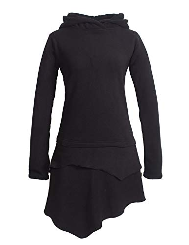 Vishes Alternative Bekleidung - Asymmetrisches Damen Langarm Winter-Kleid Kapuzen-Kleid Eco Fleece schwarz 38-40