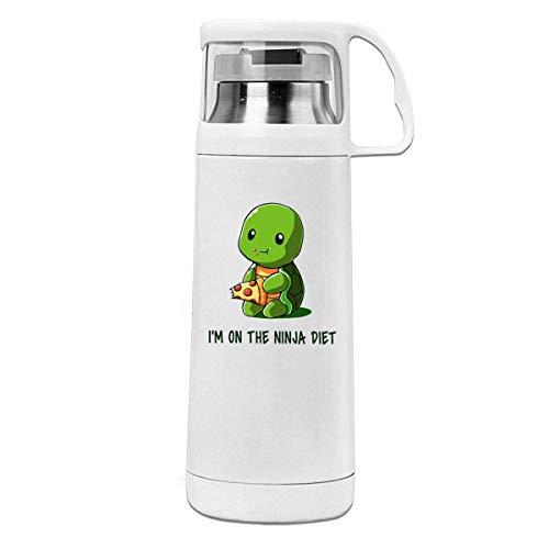 Like-like Tortugas I 'm On The Ninja Diet Taza con Tapa de 11.8 oz Taza Termo de Acero Inoxidable Botella de Agua aislada al vacío