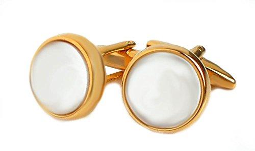 magdalena r. Perlmutt Manschettenknöpfe vergoldet rund Weiss 17 mm Durchmesser inkl. Geschenkbox