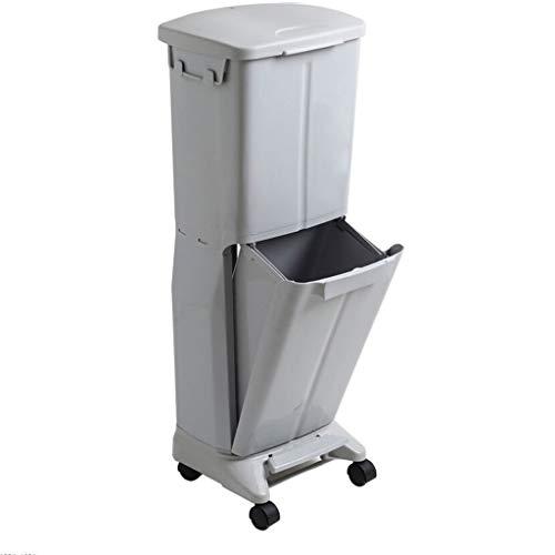 NYKK Cubo de Basura Cocina Clasificación de Doble Capa Bote de Basura de Gran Capacidad Hogar de plástico con Tapa Bote de Basura Cubo de Basura Escalonado (Color : Gray)