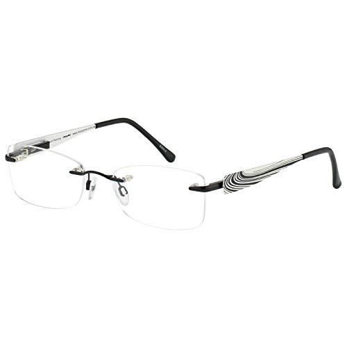Change Me randlose Brille 1924-1 mit Wechselbügel 8254-2 schwarz weiß