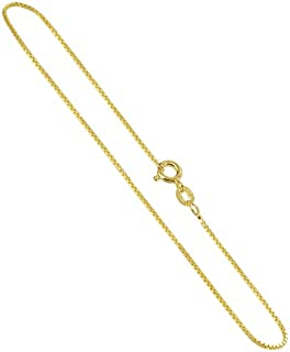 14K Gold over 925 Sterling Silver 1mm Box Chain Vermeil Spring Ring Clasp Bracelets (7-8 inch Available)