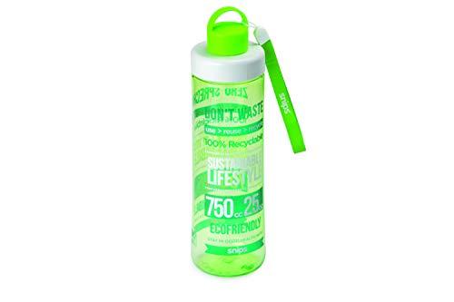 Snips Bottiglia in Tritan 0,75 LT Decoro Eco Green, Verde Trasparente, 7 cm