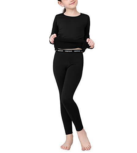 LAPASA Girl Set Intimo Termico per Bambine - Ti Tiene al Caldo Senza Stress- T-Shirt Maniche Lunghe & Pantaloni Invernali G03 (Nero(Versione 19), S(Anni 6-6X))