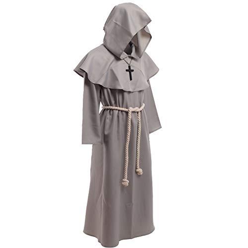 BLESSUME Disfraces de Monje Sacerdote Túnica Fraile Medieval Capucha Encapuchado Monje Renacimiento Túnica Disfraz (M, Borgoña) (XL)