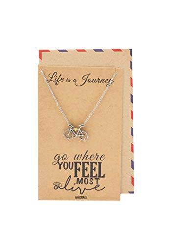 Quan Jewelry Journey Necklace with Bicycle Pendant for Women, Best Travel Accesories, Traveling Gifts for Men and Women, comes with Inspirational Quote