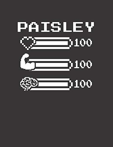 PAISLEY: Pixel Retro Game 8 Bit Design Blank Composition Notebook College Ruled, Name Personalized for Girls & Women. Gaming Desk Stuff for Gamer ... Gift. Birthday & Christmas Gift for Women.