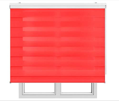 Restar Estor Enrollable De Doble Capa, Noche y Día, Celeste para Ventanas Puertas Dormitorios Oficinas,Tamaño Completo y Color, (Rojo Vino, 45x180)