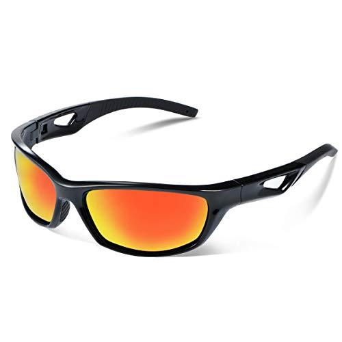 Vimbloom Occhiali da sole Polarizzati da Uomo e Donna Sportivi UV400 Protezione Montatura in Leggera per Guidare, Andare in Bici, Pescare, Golf, Ciclismo VI685 (Nero rosso)