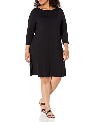 Amazon Essentials Women's Plus Size 3/4 Sleeve Boatneck Dress, Black, 4X