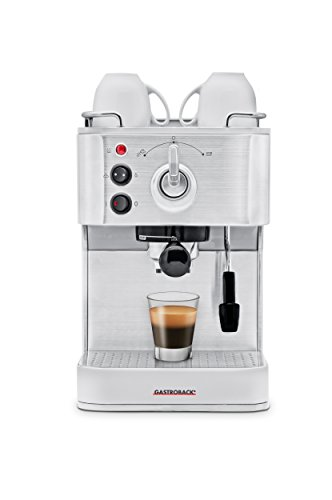 Gastroback 42606 Design Espresso Plus, Espressomaschine, Siebträger, professionelle, ital. Espressopumpe (Ulka/15 bar), 1250 Watt, 18/8 Edelstahl, silber