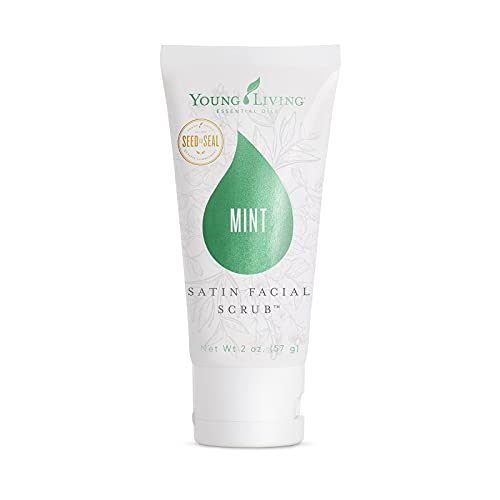 Young Living Satin Facial Scrub - Made with Apricot Seed Powder and Peppermint - Mint, 2 oz