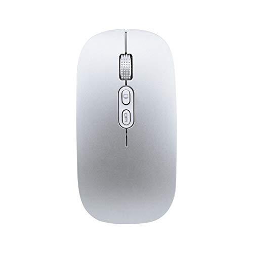 LIUCHEN ratónRatón inalámbrico Ratón inalámbrico para computadora Ratones silenciosos Mini PC Mause 2.4GHz USB Optical Mouse 1600DPI 5 Botones para computadora portátil, Plateado,