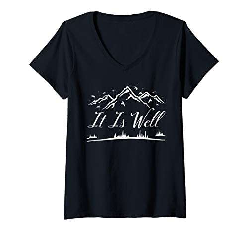Womens It Is Well Shirts Women Christian Bible Verse Cute Religious V-Neck T-Shirt