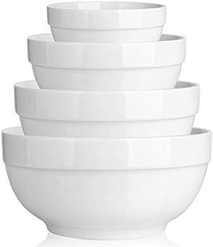 4-Pieces Dowan Porcelain Thick-Edge Microwave Serving Bowls