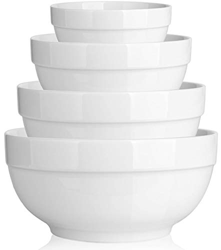 DOWAN Porcelain Serving Bowls, 64/42/22/12 Ounce Nesting Bowls Set, Scratch Resistant Prep Bowls for Kitchen, Thicken Edge, Elegant White
