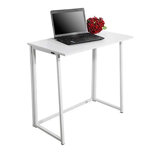 Fookduoduo Escritorio plegable para computadora, escritorio de oficina, resistente, mesa de estudio, escritorio plegable, computadora portátil, estación de trabajo para oficina en casa, color blanco