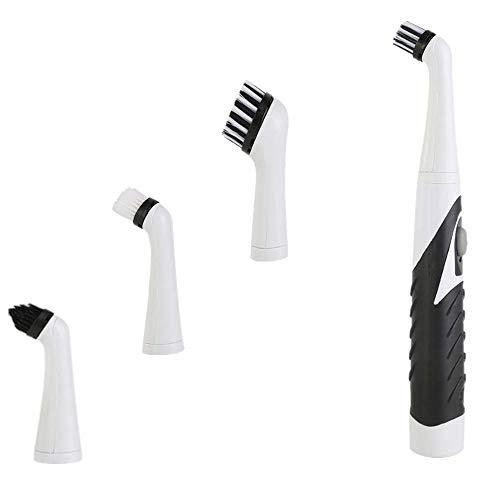 Cepillo de limpieza eléctrico, limpiador oscilante inalámbrico de mano, apto para herramientas de limpieza del hogar, como fregaderos de azulejos de cocina, color negro