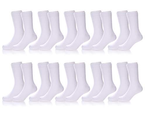 RONGBLUE Toddler Kids Girls Boys Socks Soft Cotton School Sport Crew Socks 10 Pack White ¨C 10 Pairs, 6-8 Year Old