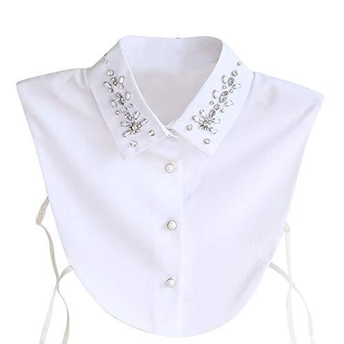 Hocaies Frauen Kragen Vintage Elegante Abnehmbare Hälfte Shirt Bluse Cotton Kragen Weiß Damen Blusenkragen, Strass Goldfisch, M