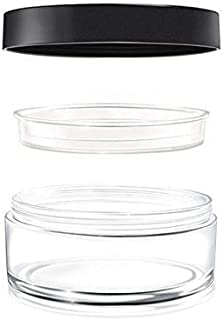 2PCS 60ML Reusable Empty Portable Clear Loose Powder Bottle Makeup Container Screw Lid Jars with Sifter Foundation Box and Sponge Powder Puff (Black Lid) (60ML(2 oz))