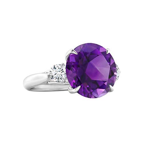 Shine Jewel Juego de Garras Piedra Preciosa de Amatista púrpura 925 Plata 1.25 CTW Anillo Redondo de Diamantes simulados (14)
