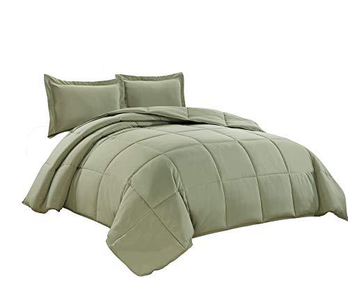 3-Piece Down Alternative Comforter Set (King, Sage Green)