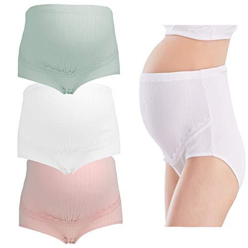 LOVELYBOBO 3er Pack Frauen Mutterschaft Höschen Over Bump Modal Schwangerschaft Unterwäsche Hohe Taillen Unterhosen