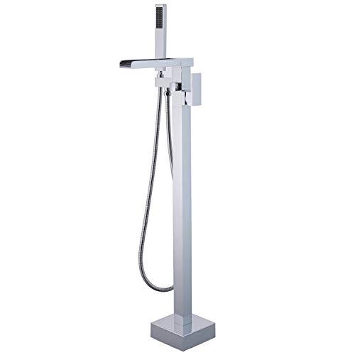 Pie de piso Mezclador Grifo para bañera Montaje en suelo cascada Grifo de bañera con ducha de mano flexible, Cromo, Beelee BL19007