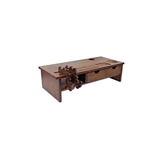 LBYMYB Monitor de computadora aumentado estante de escritorio escritorio soporte de almacenamiento de madera sólida almohadilla de pantalla alta estante 54x23x13.5cm portátil refrigerador