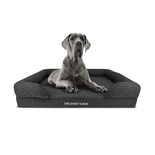 The Dog's Bed Orthopedic Dog Bed XL Grey Poly-Linen 43.5x34, Premium Memory Foam, Pain Relief: Arthritis, Hip & Elbow Dysplasia, Post Surgery, Lameness, Supportive, Calming, Waterproof Washable Cover