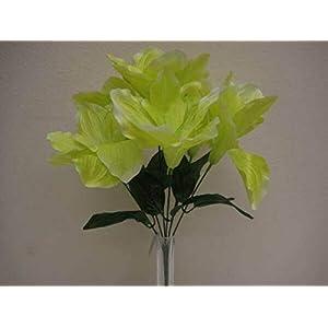 for 2 Bushes Green Amaryllis Artificial Silk Flowers 16″ Bouquet 6-647GR Floral Décor Home & Garden