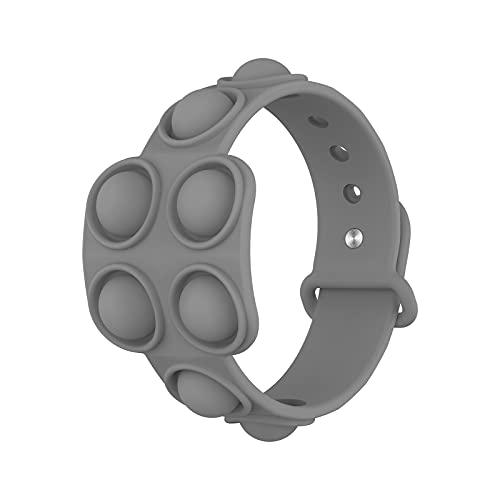 Muñequeras de silicona de descompresión, alivio del estrés, pulseras de goma de burbujas – Presione las pulseras burbuja para niños adultos sensorial Fidget juguete gris