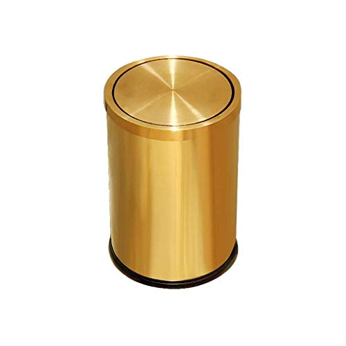 ZFFSC Mülleimer für den Innenbereich Ibuprofen European Style Gold Edelstahl Roll Cover Müll Eimer Handpresse Abfalleimer Clamshell Haushalt Küche Badezimmer WC Schlafzimmer Abfalleimer Mülleimer