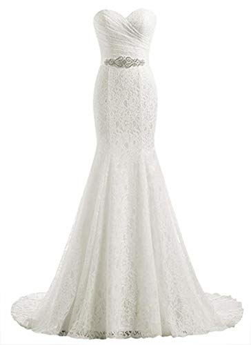 Likedpage Women s Lace Mermaid Bridal Wedding Dresses Ivory US16