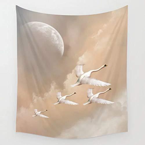 N/A Wandteppich 3D Druck Flying Swans Tapisserie Wandbehang Teppich Wohnheim Psychedelische Wandteppiche Kunst Wohnkultur Zubehör Wohnzimmer Dekor Home Wohnzimmer Dekoration Geschenke