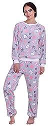ICABLE Womens Regular Comfort Fit Full Sleeves Winter Wear Shearing Velvet Top and Pyjama Set