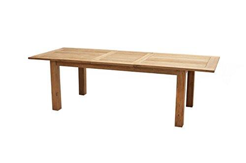 Ploß Ausziehtisch Idaho 200 cm bis 260 cm - Gartentisch mit Synchronauszug - Terrassentisch aus hochwertigem Teakholz - Holz-Esstisch Braun für 8-12 Personen mit polierter Oberfläche