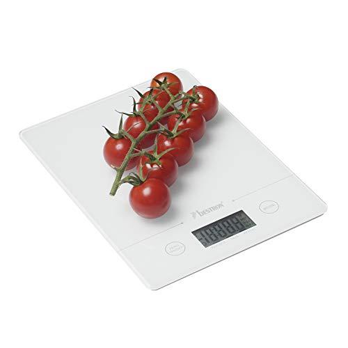 Bestron Digitale Küchenwaage mit LCD-Anzeige, Tragkraft 5 kg, Präzision auf 1 g, Glas, Weiß