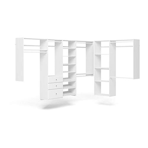 Easy Track PH60-WH L Shaped Walk In Closet Storage Wall Mounted Wardrobe Organizer Kit System with Shelves Drawers for Bedroom in White w Hardware