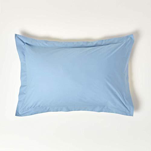 Homescapes - Taie d'oreiller style Standard - Housewife et OXFORD - 50 x 75 cm en 100% coton égyptien d'une densité de 60 fils/cm² 50 x 75 bleu