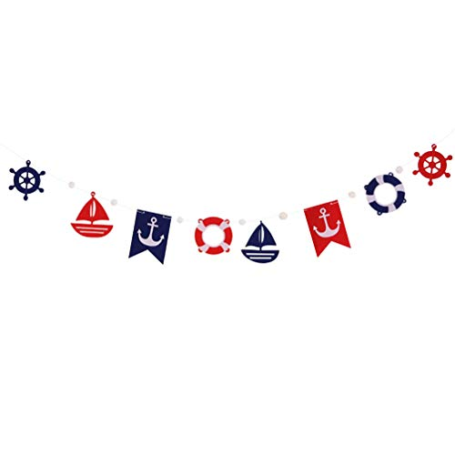 Amosfun Bunting Banner Nautical Party Banner Anchor Sailboat Hanging Garland Outdoor Pull Flag for Birthday Wedding Baby Shower Nautical Theme Party Home Decor