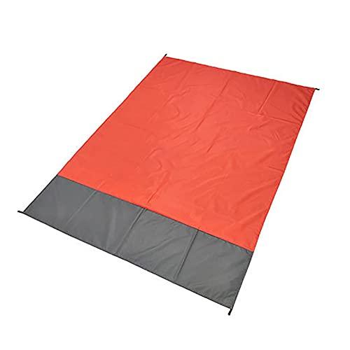 Couverture de Plage Couverture de Pique-Nique avec 4 Clous Fixes, Tapis de Plage imperméable 210 x 200 cm pour la Plage, Le Camping, la randonnée, Le Pique-Nique et Les Jeux de bébé Orange.
