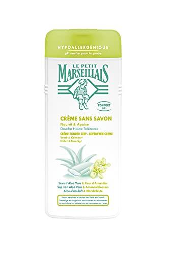 Le Petit Marseillais hypoallergeneDuschcrememit Aloe-Vera-Saft & Mandelblüte(400 ml), Duschcreme&pH-hautneutrale, seifenfreiePflegedusche für empfindliche und trockene Haut