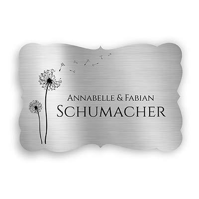Klingelschild Türschild mit Gravur 9x6 cm versch. Farben und Edelstahl oder Messing-Optik selbstklebend Briefkasten-Schild Namensschilder für die Haustür mit Namen und Motiven