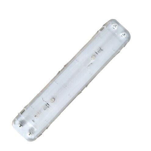 GSC 701163 Pantalla Estanca IP65 tubos fluorescentes T8 2x18W, Blanco