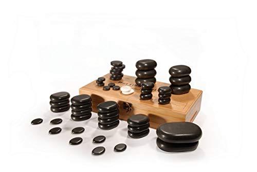 31136 Master Massage Hot Stone - Piedras de masaje (50 unidades, base de lava vocano negra, 50 piezas, con una bonita caja de bambú)